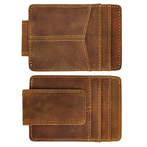 - Le'aokuu Mens Genuine Leather Cowhide Money Clip Credit Card Case Handy Slim Wallet Magnet (D Brown)