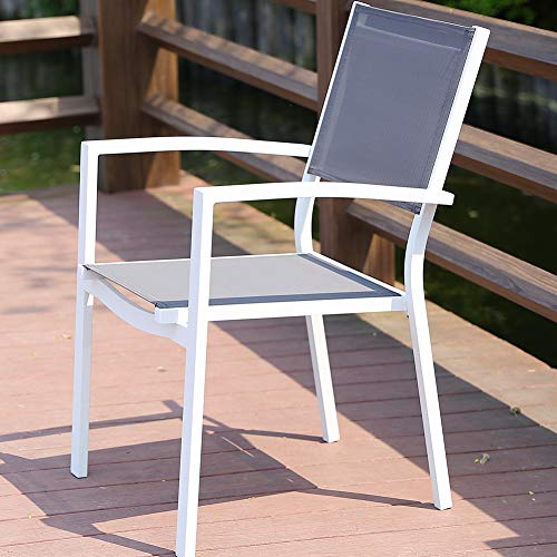 ROSE GARDEN Patio Dining Chair Rust-Free Aluminum Patio Dining White Chair Outdoor Furniture 1 Pack