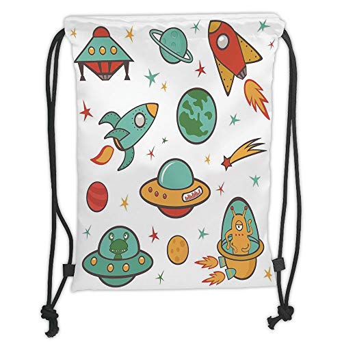 Custom Printed Drawstring Sack Backpacks Bags,Kids Room,Outer Space Theme Rocket Space Ship UFO Stars Planets Alien Earth Saturn Galaxy Print, Soft Satin,5 Liter Capacity,Adjustable String Closure,The