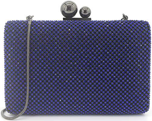 Blue Rhinestone Party Bridal Clutch Womens Evening Dexmay Prom Gold Bag Handbag Cobalt Bag Wedding Purse Crystal 5nZpP4Pxq