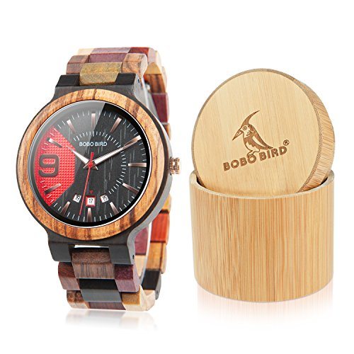 BOBO BIRD Men's Colorful Wooden Watches Analog Quartz Date Display Wood Watch Handmade Luxury Casual Wristwatch with Gifts Box for Men by BOBO BIRD
