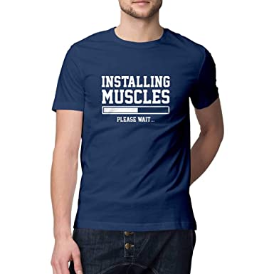 a325c94e884 Mobicture Printed T-Shirt Men | Installing Muscles Please Wait Gym Slogan  Funny Quote T-Shirt | Half Sleeve T-Shirt | Round Neck T Shirt | 100%  Cotton ...