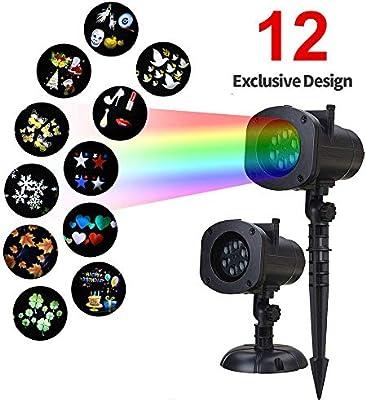 Umiwe Luces LED para proyectores de Halloween, 12 Patrones ...