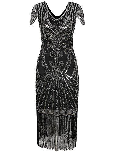 Art History Themed Halloween Costumes (Vijiv Long 1920 Vintage Gatsby Beaded Embellished Fringe Cocktail Flapper Dress)
