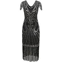 Vijiv Long 1920 Vintage Gatsby Beaded Embellished Fringe Cocktail Flapper Dress