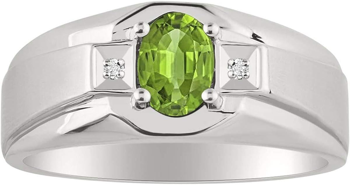 RYLOS Simply Elegant Beautiful Green Emerald /& Diamond Ring May Birthstone