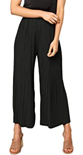 c0be963864b SHINFY Plus Size Wide Leg Pleated Palazzo Pants for Women - Loose Belted  High Waist