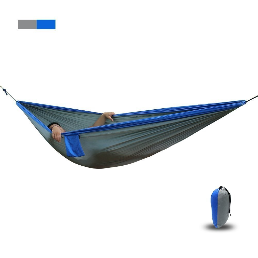 (blue) - TuffGear Hammock By Double Camping Hammocks - Top Rated Best Quality Gear For The Outdoors Backpacking Survival or Travel - Portable Lightweight Parachute Nylon (blue) B073CGKBM5  ブルー