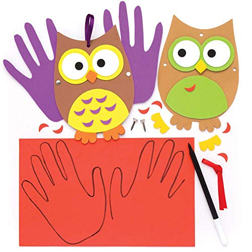 Baker Ross Owl Handprint Decoration Kits (Pack of 4) for Kids Arts and Crafts