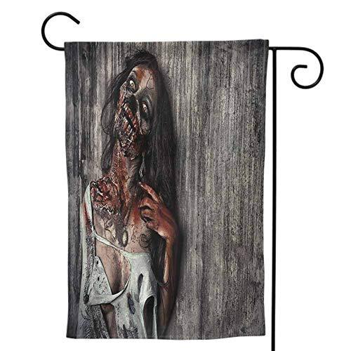 Seasonal Garden Flag, Summer Decorative Print Both Sides Zombie Angry Dead Woman Sacrifice Fantasy Design Mystic Night Halloween Image Dark Taupe Peach Red (Lsu Zombie)