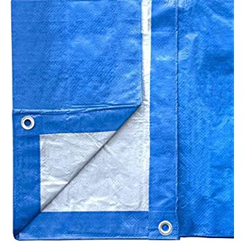 20-Foot by 40-Foot Blue and Silver Reversible Multi-Purpose Waterproof Poly Tarp Cover for Tents and Weather Protection