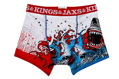 Kings and Jaxs Men's Shark Attack Boxer Briefs (Red/White/Blue, X-Small) by Kings and Jaxs
