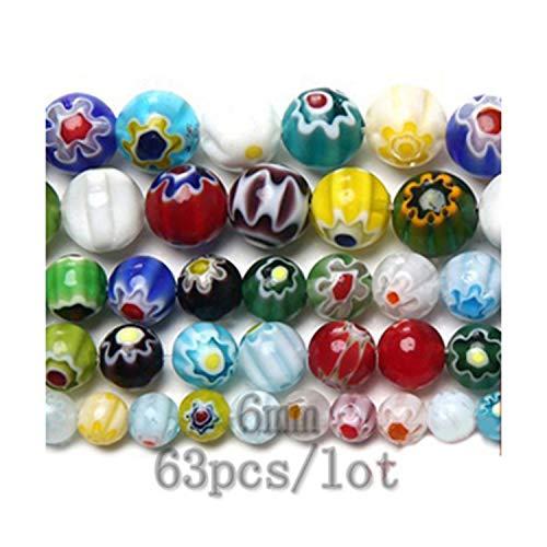 Fctory Multi Colors 2 Flower Stripe Millefiori Lampwork Glass Beads 6 8 10Mm Pick Size for Jewelry Making DIY