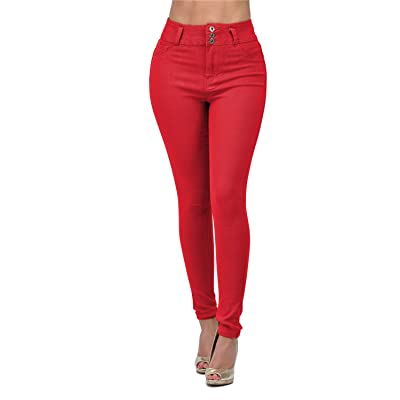 LOVER FASHION HIGH Waisted Denim Strench Skinny Colored Jeans at Women's Jeans store