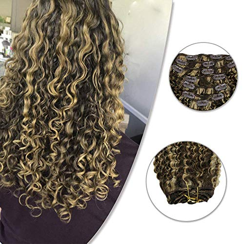 RUNATURE #4/27 Highlights Kinky Curly Clip in Human Hair Extensions 18