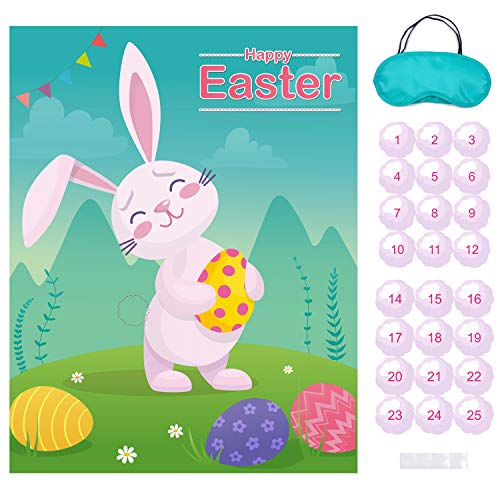 MISS FANTASY Easter Games Pin The Tail on The Bunny Easter Egg Hunt Activities Easter Party Decorations Favors Supplies for Kids Adults Include 24 Tails