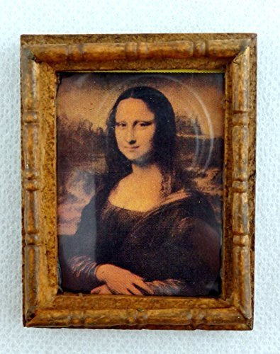 Melody Jane Dolls Houses House Miniature Accessory Mona Lisa Picture Painting In Wooden Frame