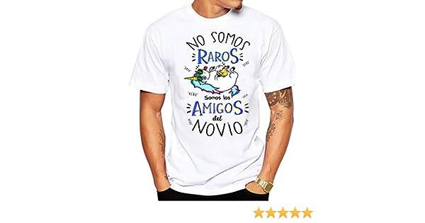 FUNNY CUP Camiseta No Somos raros Somos los Amigos del Novio. Divertida para Despedidas de Soltero (S): Amazon.es: Ropa y accesorios