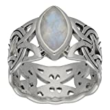 Borre Knot Rainbow Moonstone Ellipse Viking Braided Wedding Band Norse Celtic Sterling Silver Ring Size 7(Sizes 4,5,6,7,8,9,10,11,12,13,14,15)
