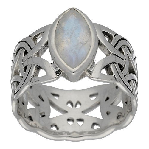 Borre Knot Rainbow Moonstone Ellipse Viking Braided Wedding Band Norse Celtic Sterling Silver Ring Size 7(Sizes 4,5,6,7,8,9,10,11,12,13,14,15) by Silver Insanity
