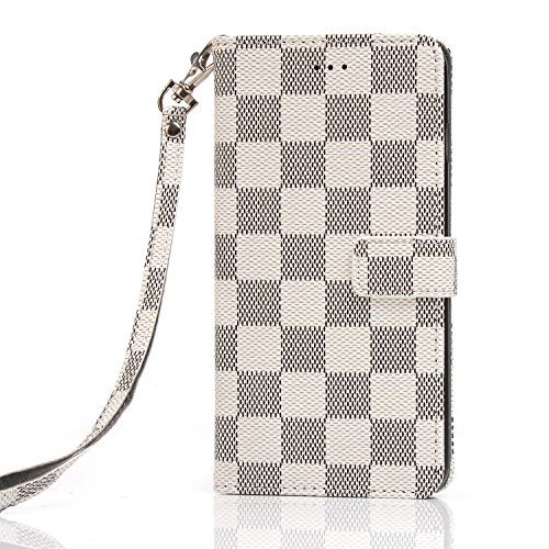 White Checkers Protector Case - iPhone 7 Case, Wallet for iPhone 7s 5.5, 12-Slot Pocket, ID Card Holder, Purse Function, Hand Strap, Beige Checker Print, Premium Quality, High Grade, Classic Design, Classy Style
