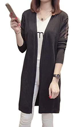f82cd0a239 Domple Women Loose Lace Patchwork Open Front Knitted Long Cardigan Sweater  Black F