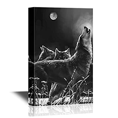 Pack Of Wolves Howling At Moon - Canvas Art