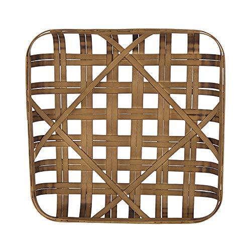 Glitzhome Square Tobacco Basket 24 Inch Dark Brown Bamboo Wall Decor Woven Farmhouse Decor (Large Basket Tobacco)
