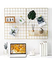 BULYZER Grid Wire Panel Board,Wall Picture Decoration for Room Clip Photo Holder Photograph Mat Hanging Art Display Frames Desk Storage Organizer,25.6'' x 17.7''(2Pack) (Gold)
