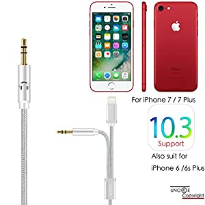 iPhone X AUX Cord, UNOOE 2 in 1 iPhone 8 AUX Cord for Car Braided AUX Cable for iPhone 7 7 Plus Lightning to 3.5mm Audio Cable for Beats Headphones,Bose Speakers,Car Stereo on iOS & Android (Silver)