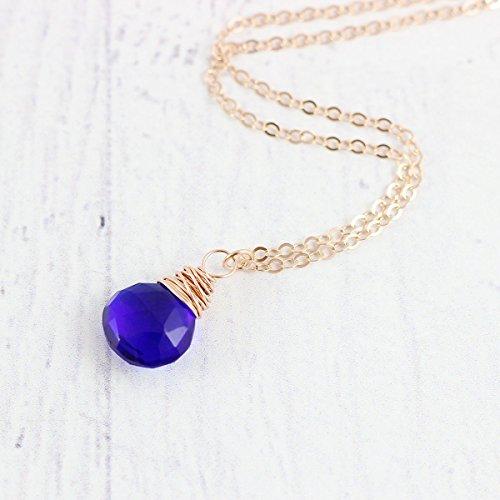 (Royal Blue Quartz Rose Gold Necklace - 18