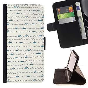 """For Samsung Galaxy Note 5 5th N9200,S-type Patrón Scribble minimalista Líneas de barcos"""" - Dibujo PU billetera de cuero Funda Case Caso de la piel de la bolsa protectora"""