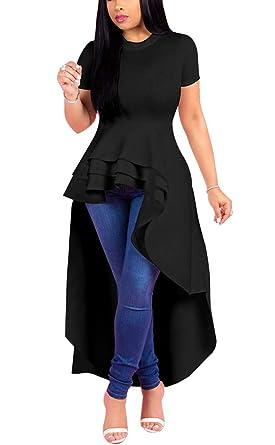 31461531e43a Fashion High Low Tops for Women - Unique Ruffle Short Sleeve Tunic Shirt  Small Black