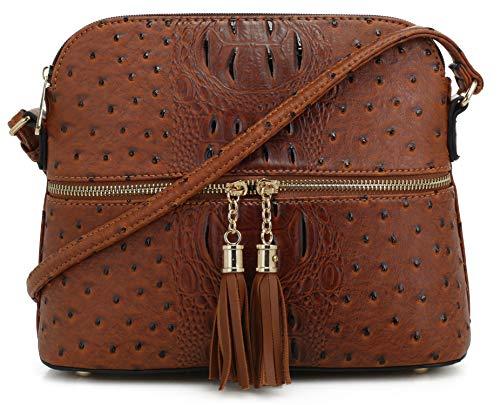 SG SUGU Crocodile Pattern Lightweight Medium Dome Crossbody Bag with Tassel | Brown (Crossbody Pattern Bag)