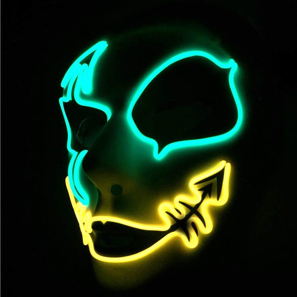 CX TECH Maschera di Partito Horror incandescente Maschere di Volpe LED Maschera Luce Fredda Maschera facciale Male Cosplay Danza di Strada Dipinta a Mano Costume Decorazione di Pasqua smorfia