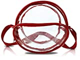 Nova Sport Wear 8 Inch Round Clear Messenger Bag for Events/Transparent Purse for Stadiums/Clear Bag for Men and Women (Red)