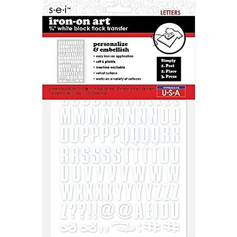 amazon com sei 3 4 white block flock iron on transfer letters
