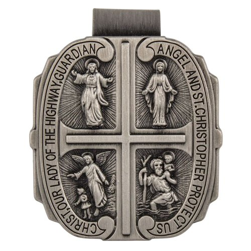4 Way Catholic Visor Clip Pewter, St Christopher, Miraculous Medal