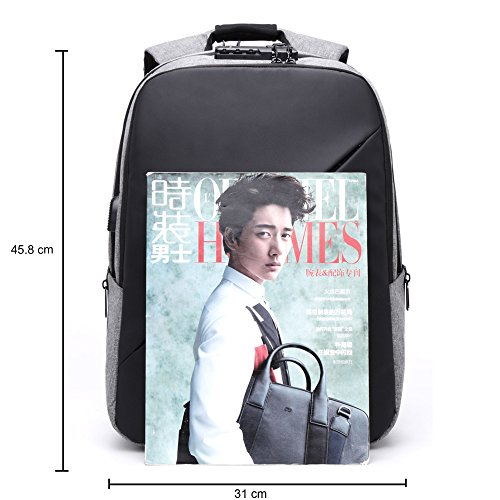BISON DENIM Slim Business Laptop Backpacks Anti thief Tear/Water Resistant Travel Bag Backpacks fits up to 15 15.6 Inch Computer Laptops Backpack In Grey by BISON DENIM (Image #1)