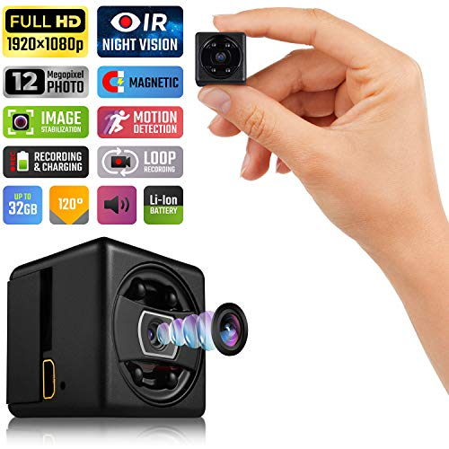 Lilexo Mini Hidden Spy Camera - 1080P Mini Security Camera - HD Cop Cam - Small Action Cam with Night Vision and Motion Detection - Indoor/Outdoor Perfect Portable Covert Camera for Home, Car, Office
