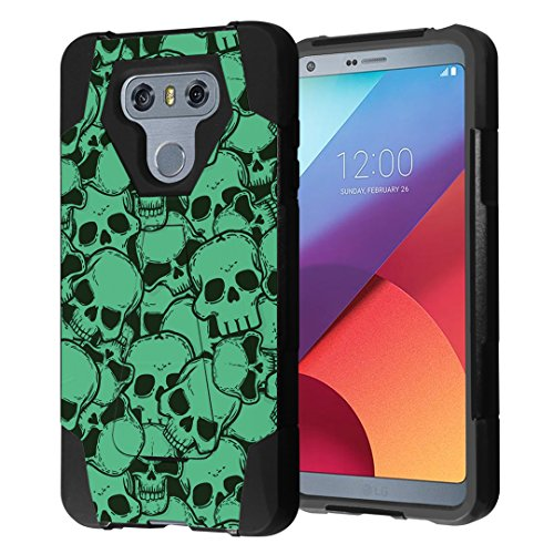 LG G6 Case, Capsule-Case Hybrid Fusion Dual Layer Shockproof Combat Kickstand Case (Black) for LG G6 (2017) - (Skull Green)]()