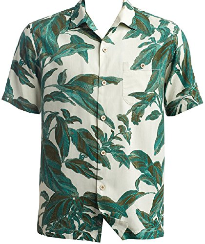 Bahama 100% Silk Shirt - Tommy Bahama Royal Botanical Silk Camp Shirt (Color Castaway Green, Size XL)