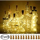 Decem Wine Bottle Lights with Cork 12 Pcs 15 LEDs Warm White Cork Shape Silver Copper Wire Battery Powered LED Fairy String Lights for DIY/Decor/Party/Wedding/Christmas/Halloween (Warm White)