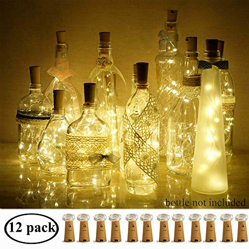 Decem Wine Bottle Lights with Cork 12 Pcs 15 LEDs Warm White Cork Shape Silver Copper Wire Battery Powered LED Fairy String Lights for DIY/Decor/Party/Wedding/Christmas/Halloween (Warm ()