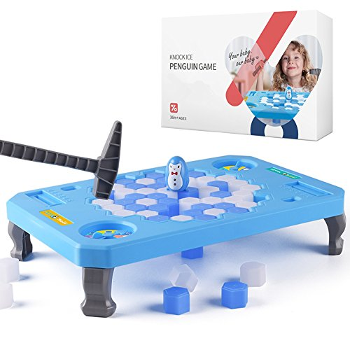 Mini Kid Games - [Upgraded] Penguin Trap Game, BRAiTOR Save The Penguin On Ice Blocks Puzzle Game, Activate Funny Family Party Mini Table Game for Kids