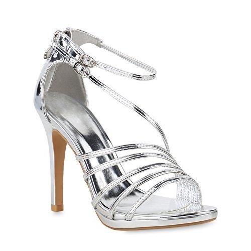Stiefelparadies Damen Sandaletten High Heels Schaftsandaletten Stilettos Lack Metallic Partyschuhe Nieten Strass Fransen Lace Up Schuhe Flandell Silber Metallic Carlet