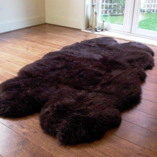 Large Chocolate Quad Sheepskin Rug - 190x120cm