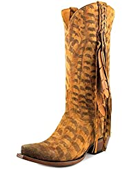 Lucchese Womens Tori Hand Tooled Feather Cowgirl Boot Snip Toe - M5105
