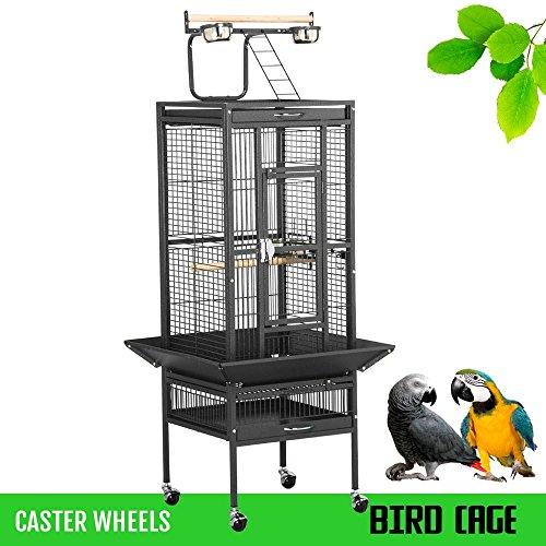 go2buy Wrought Iron Select Bird Cage Parrot Cockatoo Birdcage Stands (61-Inch Black) ()