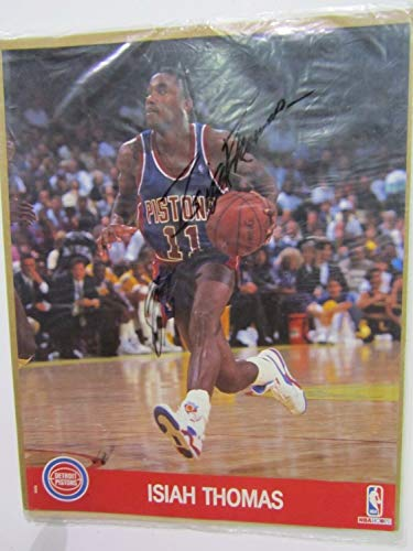Isiah Thomas Autographed Signed Memorabilia Detroit Pistons Color Nba Hoops Photo PSA-Dna